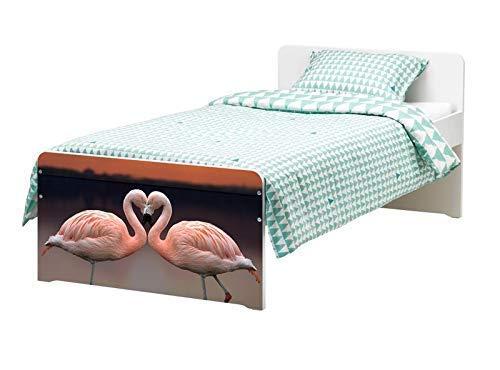 Möbelaufkleber für Ikea SLÄKT Bett Flamingo Paar Liebe Vogel Kat6 Sonne bed Aufkleber Möbelfolie Tür sticker Folie (Ohne Möbel) 25K197