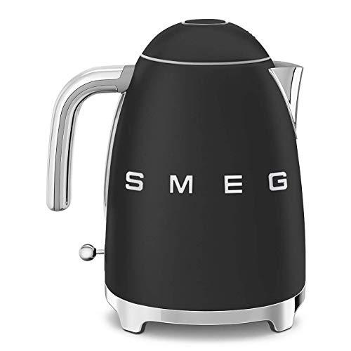 Smeg Retro 50's Style Kettle, 1.7 Litre, Soft Opening, Fast Boil, Matte Black