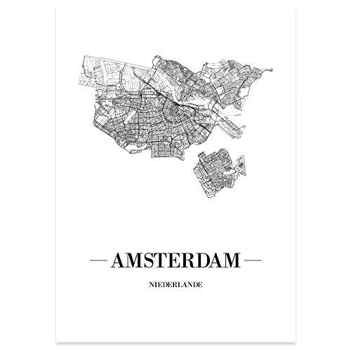 JUNIWORDS Stadtposter, Amsterdam, Wähle eine Größe, 21 x 30 cm, Poster, Schrift A, Weiß
