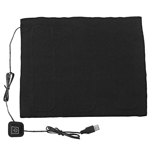 DC 5 V USB-elektrische doekverwarming, 3-laags USB-verwarmingskussen van waterdichte koolstofvezel, wasbaar kussen voor kleding, koorts, tabletten voor nek, rug, buik en lendenwervel