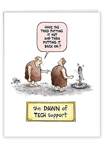 Hysterical Dawn Of Tech Support Birthday Card with Envelope (Large 8.5 x 11 Inch) - Personalized Birthday Gift Card with Two Funny Cavemen - Big Computer and Technology Bday Surprise J4038BDG