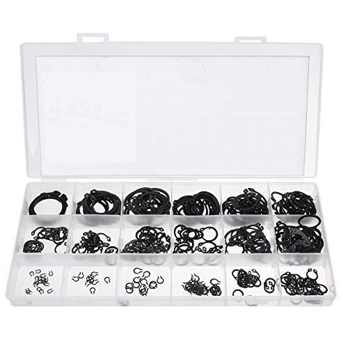 ZOYOSI 300pcs Retaining Circlip Set External Circlips Snap Ring Assortment Set Black