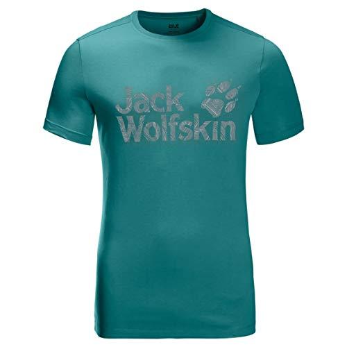 Jack Wolfskin - Maglietta da Uomo con Logo, Uomo, T-Shirt, 1807261, Verde Smeraldo, L