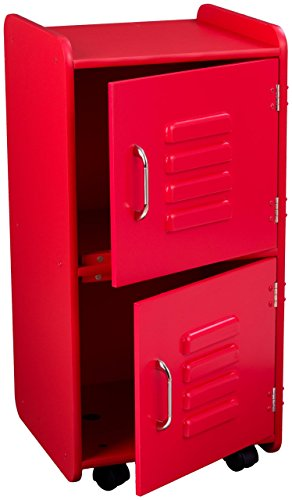 KidKraft Painted Wood Medium Storage Locker On Wheels with Two Compartments - Red