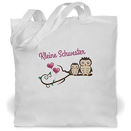 Shirtracer Geschwisterliebe Kind - Kleine Schwester süße Eulen - Unisize - Weiß WM101 - Stoffbeutel aus Baumwolle Jutebeutel lange Henkel