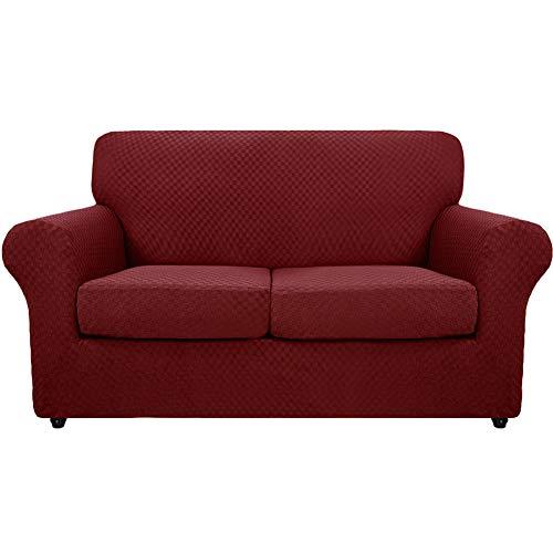 SYLC Fundas de sofá de 3 piezas Jacquard para 2 plazas grandes con 2 fundas de cojín, fundas elásticas antideslizantes con parte inferior elástica (rojo)
