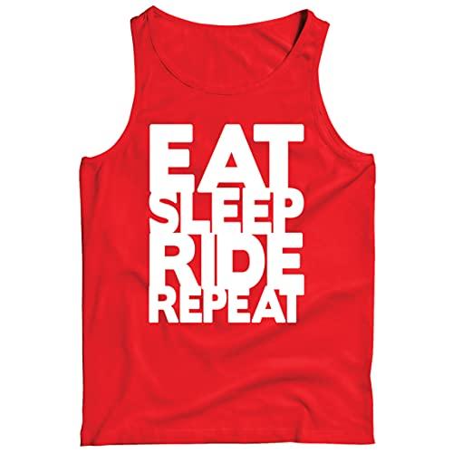 lepni.me Camisetas de Tirantes para Hombre para Ciclistas Come Duerme Monta Repite Citas para Amantes de la Bicicleta (XXL Rojo Multicolor)