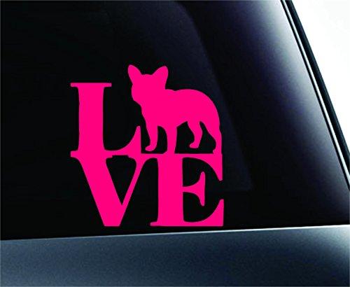 ExpressDecor Love French Bulldog Dog Symbol Decal Funny Car Truck Sticker Window (Pink)