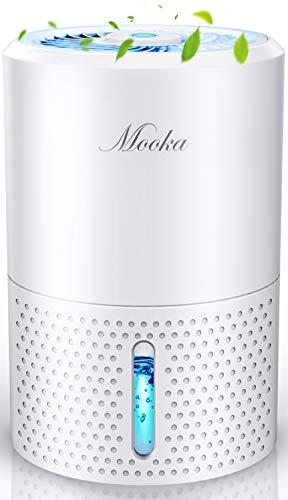 MOOKA Small Dehumidifier, 2200 Cubic Feet (220 Sq ft), 34oz (1000ml) Water Tank 2021 Upgraded Dehumidifier for Home, Room, Kitchen, Closet, Basement, Bathroom, RV, Mini Dehumidifier, Auto Shut Off