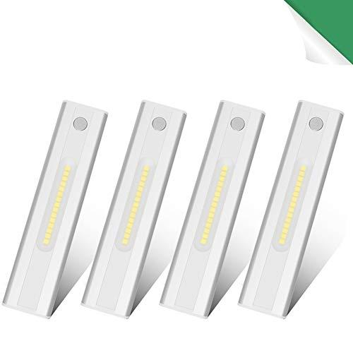 Klighten 4PCS Luz Armario con Sensor de Movimiento Luz Sensor para Armario USB Recargable 15 LED Armario Pegadas Lámpara Nocturna Ideal para Armario Garaje Gabinete Escalera, Blanco Frio 6000K