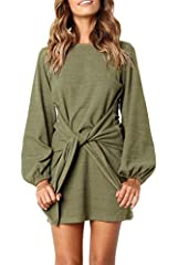 Material: 60% Cotton/Polyester/Spandex This Style Has a Round Neckline, Full Length Lantern Sleeves, a Tie up Waist at the Front. Mini Length Basic Knitted Dresses Super Soft and Comfortable Material, Suitable For Spring,Autumn,Winter. Easy to Coordi...