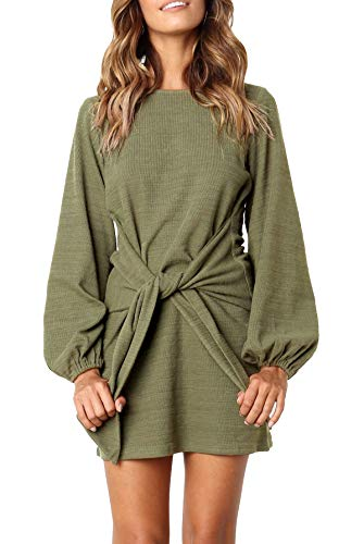 R.Vivimos Women Autumn Winter Cotton Long Sleeves Elegant Knitted Bodycon Tie Waist Sweater Pencil Dress (Large,Army Green)