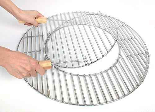 Hero Grille de Barbecue en Acier Inoxydable avec poignées et Trou pour Barbecue sphérique 55,56,57 cm