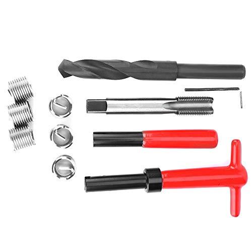 【2021 Promoción de año nuevo】Kit de reparación de roscas, 11 piezas M16x1.5 Acero inoxidable Taladro torcido Llave Herramienta de inserción de grifo Conjunto de reparación de roscas para piezas de aut