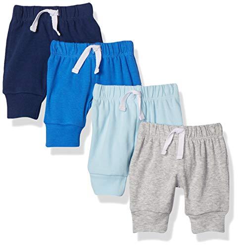 Amazon Essentials – Pantalones con cintura elástica para niño (4 unidades), Azul/Blanco, 0-3 Meses