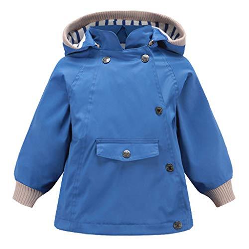Livoral Kleinkind-Kind-Baby-Karikatur-Tiermit Kapuze Mantel-Jacke Outwear Winddichte Ausstattungen(Blau,120)