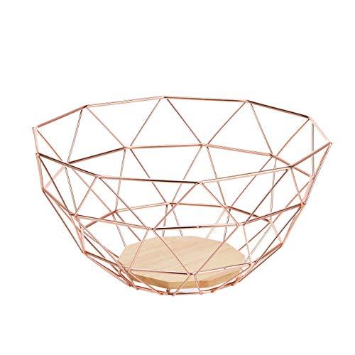 Cesto per la frutta in filo metallico Amazon Basics, con base in legno