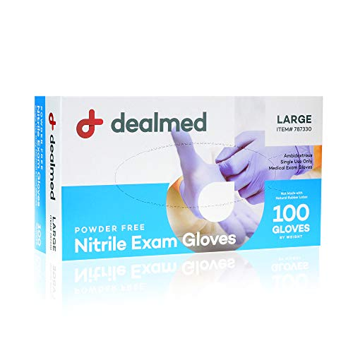 Dealmed Nitrile Medical Grade Exam Gloves, Disposable Latex Free, Large, 100 ct. (Pack of 1)