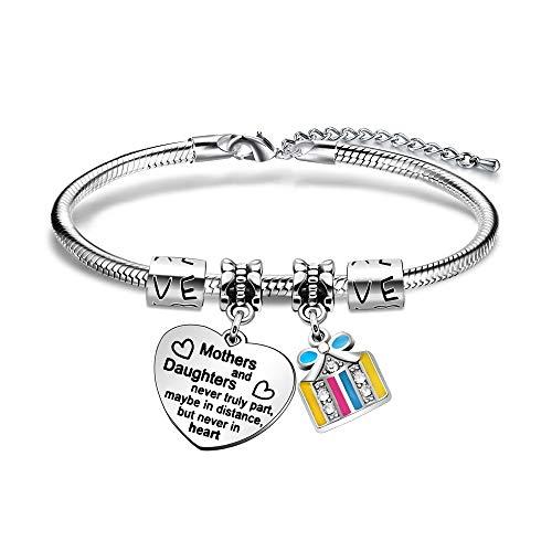 KENYG Pulsera de cadena de plata para madres e hijas con texto en inglés 'Never Truly Part Maybe in Distance But Never In Heart' para madre e hija, cumpleaños, regalos de Navidad