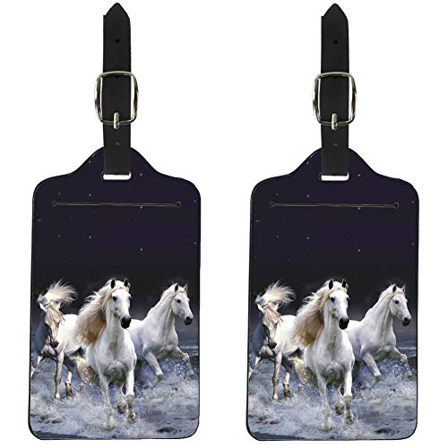 Nopersonality 2 Pack Luggage Tags for Couples, Stylish Horse PU Leather Travel Suitcases ID Identifier Baggage Label