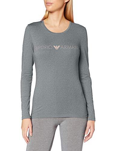 Emporio Armani T-Shirt, Grigio Melange Scuro-Dark Grey Melange, L Donna
