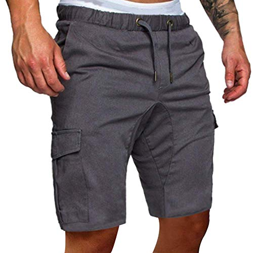 Yesgirl Hombre Bermuda Pantalón Corto Moda Color Sólido Elástico Regular-Fit Deporte Shorts con Cordón Z1 Gris Claro Large