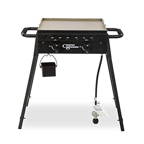Country Smokers CSGDL0370 Horizon Series, Plains 2-Burner Portable Gas Griddle, Black