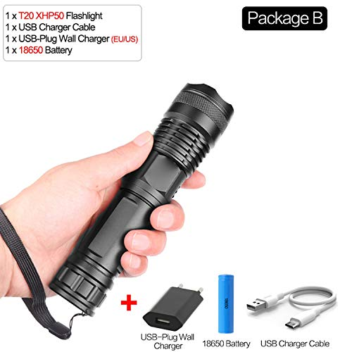 95000 Lumens Lamp Xhp70.2 Most Powerful Flashlight Usb Zoom L-Ed Torch Xhp70 Xhp50 18650 Or 26650 Battery Best Camping, Outdoor,Package B