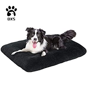 OXS Dog Bed Long Plush Pet Bed, Comfortable Faux Fur Washable Crate Mat for Large Medium Dogs with Anti-Slip Backing
