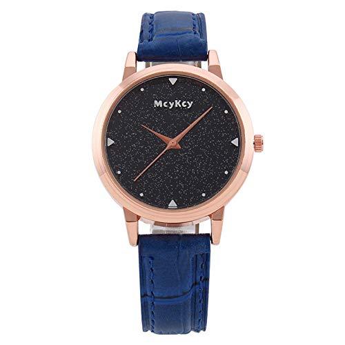 Powzz ornament Reloj de pulsera sencillo con diseño de cielo estrellado, esfera grande, correa de cuarzo, color azul