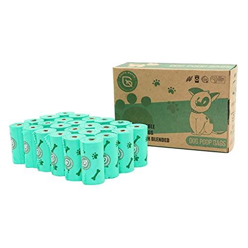 Green Maker Biodegradables Caca Perro Bolsas 360 Excrementos Perros Bolsas 30% más Grueso Que Otros Hecho de Almidón de Maíz con DIN CERTCO Certificación (Verde)