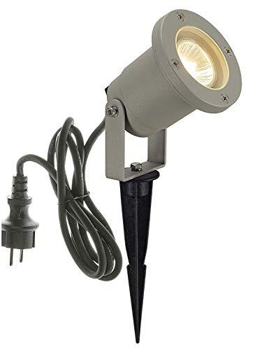 SLV LED-spot Nautilus met grondpen | buitenlamp voor de verlichting van tuin, terras, planten, paden, vijver | buitenlamp, buitenlamp, buitenspot, IP65, GU10, 1,5 m kabel met stekker, aluminium