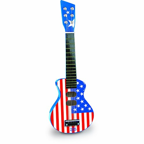 Vilac 52x 18x 5cm American Flag Rock-n-Roll Spielzeug für Papageien Gitarre