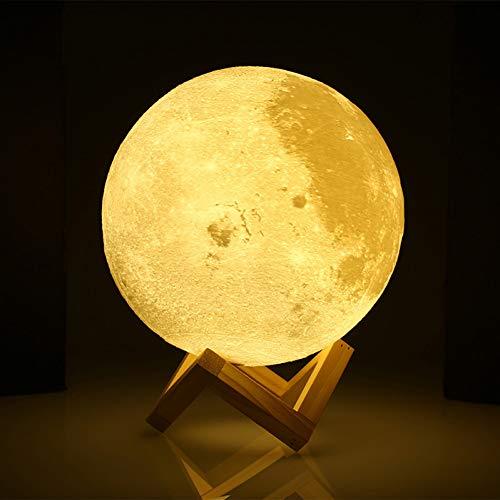 XHSHLID 3D-druk, Luna nachtlampje, dimbaar, LED-lampen, 15 cm, 18 cm, 20 cm, oplaadbaar, Luna 2 schakeling