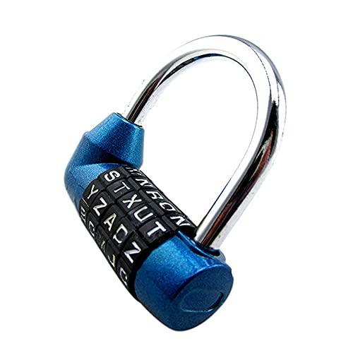 PULABOSecurity Lock 5 letras código palabra combinación contraseña equipaje bolsa candado azul