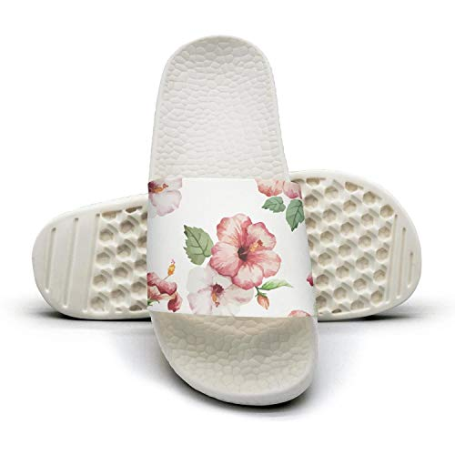 K4RK4MF Pink Tropical Hawaiian Wild Flower Unisex Slides Shoes Best Lightweight Flip Flops for Women's Men's Shower