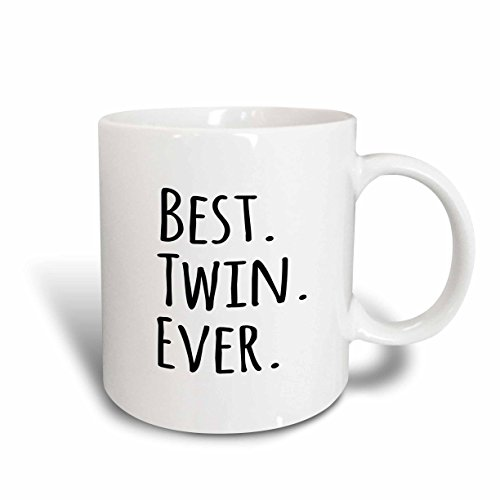3dRose Best Twin Ever Mug, 11 oz, Red