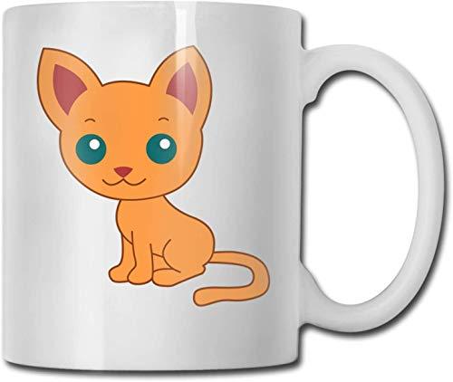 Taza de café blanca de cerámica única con lindo gato, taza de té para oficina, hogar, diversión, novedad, regalo, taza de bebida divertida de 11 oz para hombres y mujeres