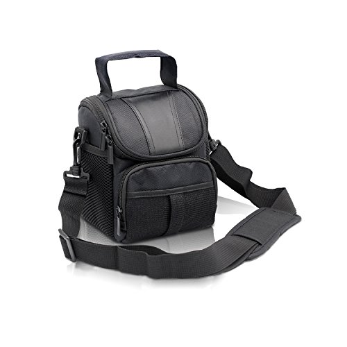 FOSOTO Waterproof (with Rain Cover) Black Camera Case Bag Compatible for Canon EOS M10 M6 M2 Mrak II M50 M100 Rebel T3i T4i T5 SL1, Nikon P600 D3300 D3400 D5100 D5300 D7200,Sony RX10M3,Olympus EM10
