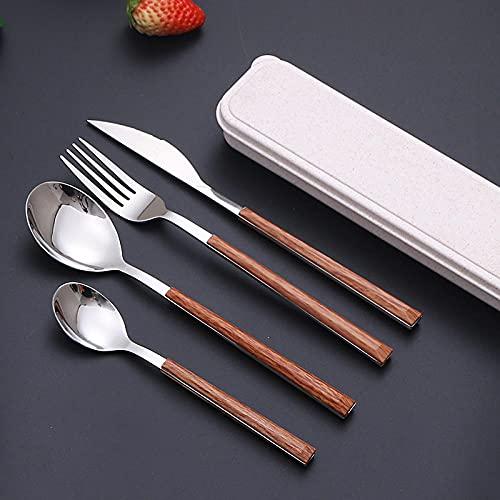 FaCaiTao Cuberterias Completas,Ensalada de Filete Creativo Cuchillo de Acero Inoxidable Tenedor Cuchara imitación Manera de Madera Occidental-Color Nativo Cuatro Conjuntos