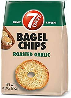 7Days Bagel Chips, Roasted Garlic, No Artificial Ingredients, Non-GMO Snack, (8.81oz, Pack of 12)