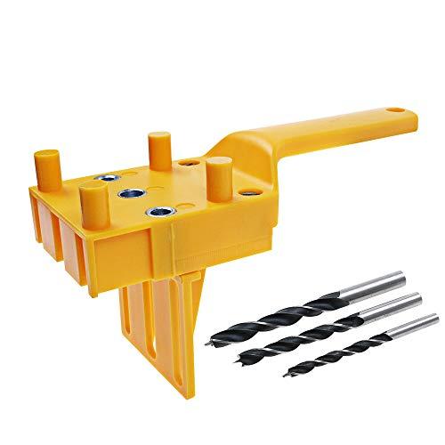 "Woodworking dowel jig 1/4"" 5/16"" 3/8"" drill bits metal sleeve drill guide wood joints drilling doweling jig tool handheld jigs"