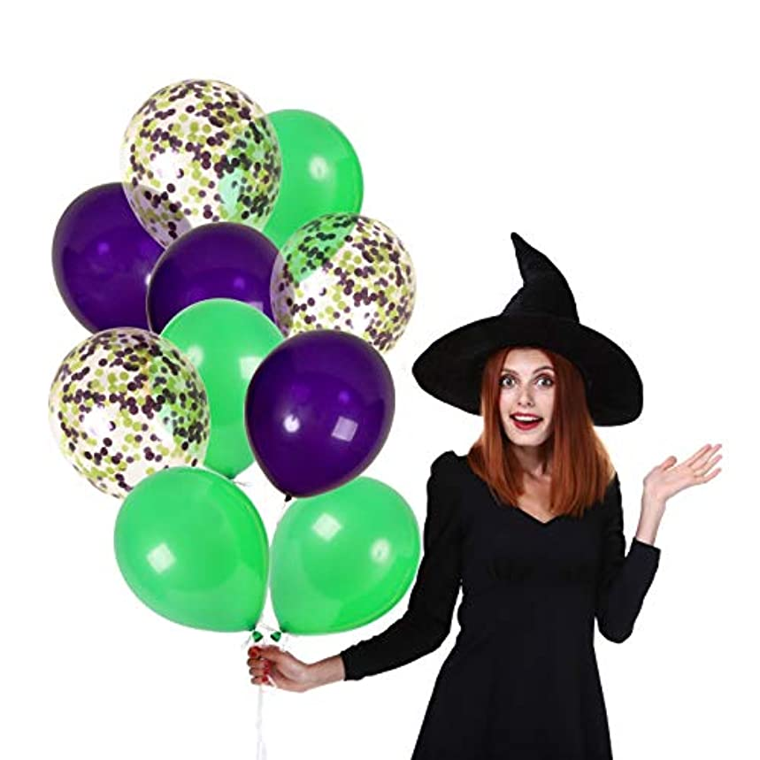Treasures Gifted 12 Inch Halloween Balloons Purple and Green Confetti Decor with Solid Latex Decorations Kit for Scary Haunted House Spooky Maze