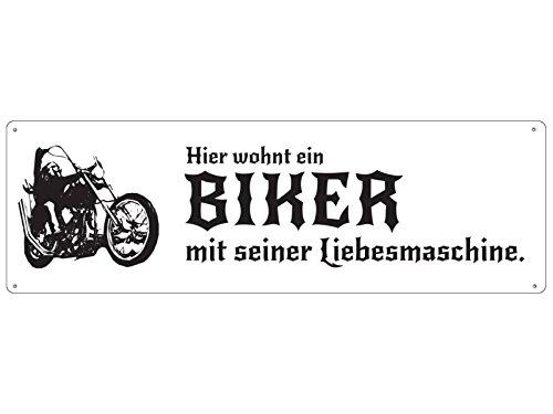 Interluxe METALLSCHILD Blechschild Haustür Hier WOHNT EIN Biker MIT Seiner LIEBESMASCHINE