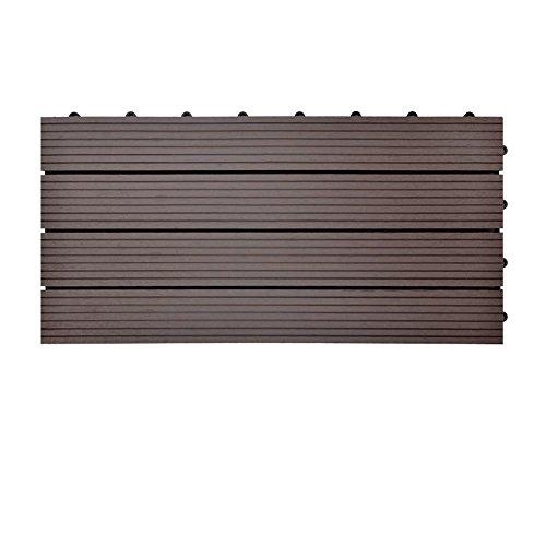 SIENOC Terrassen-Fliese aus WPC Kunststoff, Einzelfliese, Garten-Fliese,Balkon Bodenbelag mit Drainage Unterkonstruktion (30x60 cm, Dunkelbraun)