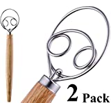 HauBee 2 Pack Kitchen Danish Dough Whisk Stainless Steel Sourdough Flour Bread Baking Cooking Tools...