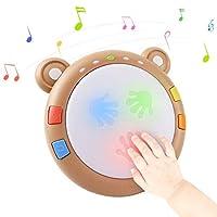 【Jouets musicaux portables】2020 Améliorée Version(alimenté par 3 piles AA de 1,5 V,non incluses dans l'emballage): il y a 12 sons d'animaux et 8 chansons de bébé et 8 sons de batterie différents dans le les jouets et le bébé peuvent jouer du tambour ...