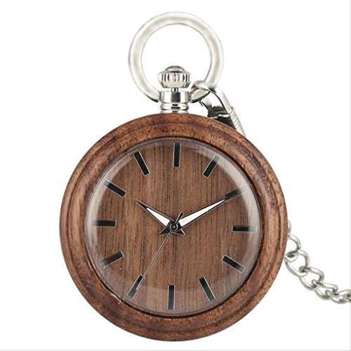 KUANDARGG Punteros luminosos de cara abierta reloj de bolsillo reloj de bolsillo reloj de bolsillo de madera cadena de esfera redonda colgante relojes, estilo 1