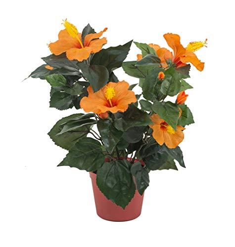 artfleur - künstlicher Hibiskus im Topf Eibisch orange ca. 40 cm Topfblume Blühpflanze