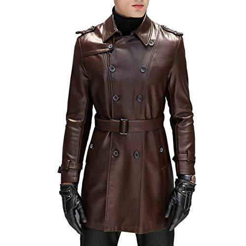 HaiDean Abrigo Hombre Moda PU De Cortavientos Chaqueta Cuero Modernas Casual Chaqueta Slim Fit Gabardina Clásica Ropa Casual De Negocios Abrigo 2020 Ropa De Hombre